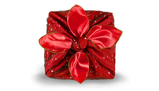 Eco-Friendly Gift wrapped in silk scarf