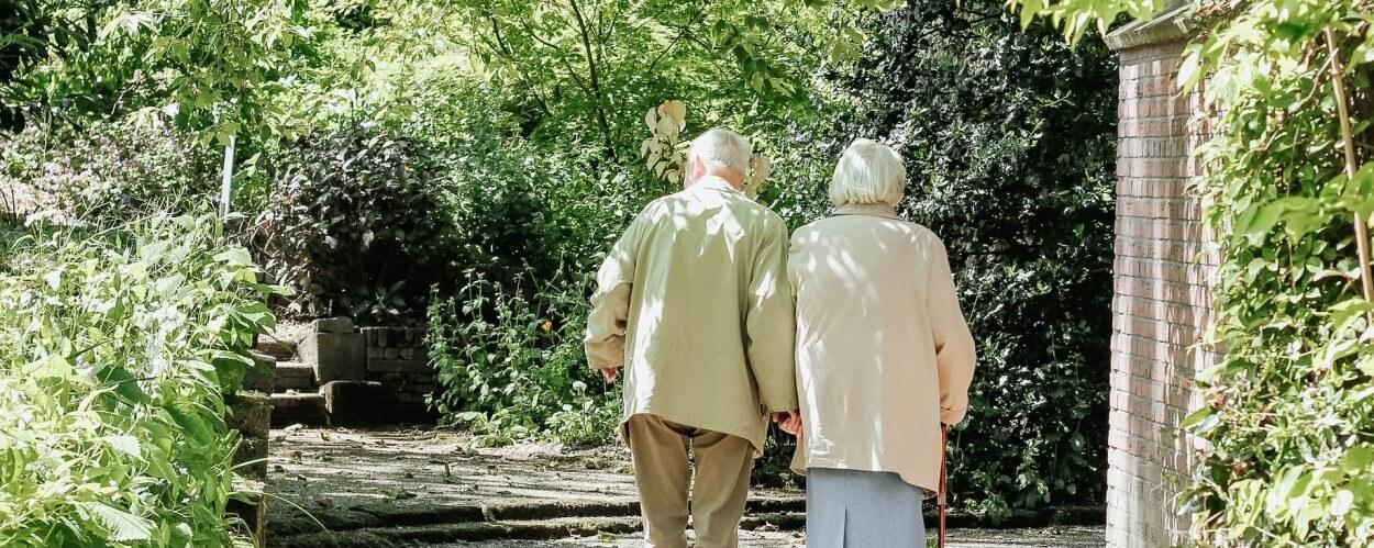 Elderly Parents Walking Away