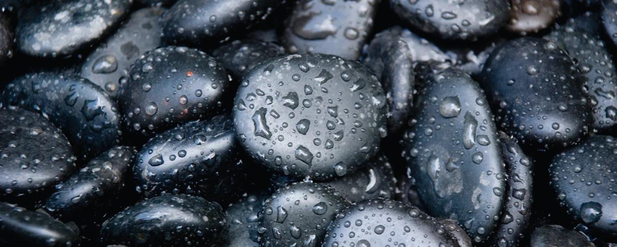 stones with raindrops