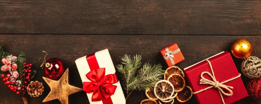 Christmas presents on wooden floor