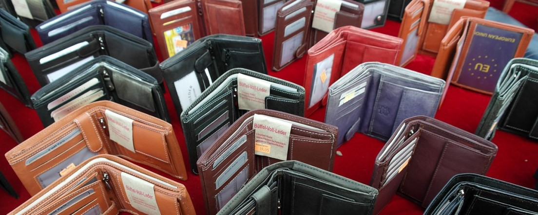 leather wallets in various colours